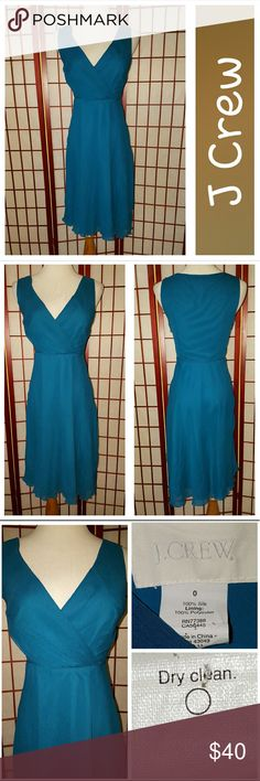 Bridesmaid/Cocktail Dress! The Heidi dress from J Crew's  bridemaids line.  Perfect for other special occassions.  Teal.  Chiffon.  Sz 0.  Measurements lying flat armpit to armpit 15in, waist 12in, length shoulder to hem 37in. J. Crew Dresses Wedding