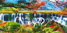 Jiuzhaigou Valley Waterfall #Beautiful #Handmade #Silk #Embroidery #Art 77134 http://www.queensilkart.com/100-handmade-embroidery-framed-landscape-jiu-zai-gou-waterfall-77134 Jiuzhaigou Valley is part of the Min Mountains on the edge of the Tibetan Plateau. It is known for its many multi-level waterfalls, colorful lakes, and snow-capped peaks.