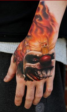 amazing detail... Sweet tooth Tattoo by Ryan Cotterman - clown flames