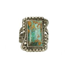 Early Native American Coin Silver Turquoise Ring