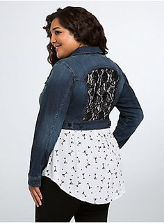 denim jacket classic front (button front and breast pockets) crop with black lace inset on the back