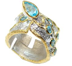 $95.25 Caribbean Heaven! Swiss Blue Topaz Gold Plated  Sterling Silver Ring s. 7 adjustable at www.SilverRushStyle.com #ring #handmade #jewelry #silver #topaz