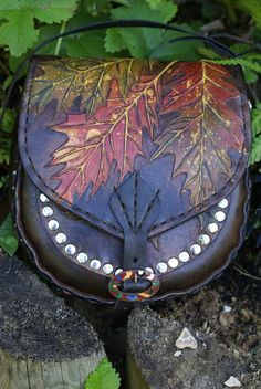 hand carved autumnal red oak leaves and acorns dual purpose belt pouch bag with removable strap