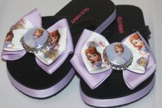 Sofia the First Purple and Black Flip Flops by bowsforme on Etsy, $14.99