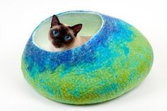 Custom felted Cat Bed  / Cave / Cocon / House / Vessel - Hand Felted Wool - Handmade - Green to Blue - Bigger size