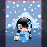 Vector illustration of a cute smiling oriental girl in a blue kimono dress with wide obi sash holding a white festival paper lantern. The girl's braided black hair is decorated with flowers and geisha style hairpins. The blue mountain and falling snow make a simple background. This artwork was inspired by traditional wooden kokeshi dolls of Japan and influenced by Japanese Chibi Kawaii art style.