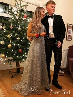 5abfe68fc1b Sparkly V Neck Long Prom Dresses Silver Formal Evening Party Dress ARD1996.  SheerGirl