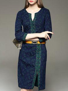 Casual Printed Cotton 3/4 Sleeve Midi Dress