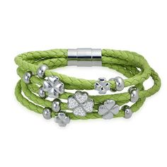 Bling Jewelry Green Lucky Four Leaf Clover Braided Leather Bracelet Steel * Thanks a lot for viewing our photo. (This is our affiliate link) Bling Jewelry, Charm Jewelry, Beaded Jewelry, Jewelry Bracelets, Bangles, Leather Bracelets, Bling Bling, Braided Bracelets, Four Leaf Clover