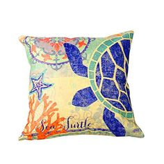 ME COO Summer Style Mediterranean Pillowcase Printed Square Cushion Decorative Pillow Cushions Home Decor Throw Pillow 4545cm MEBZ116 ** To view further for this item, visit the image link.