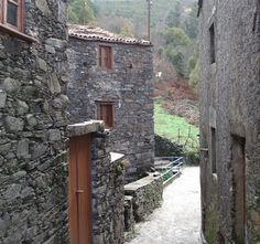 """Incredible schist stone (""""xisto"""") streetscape in a village in the Serra the Lousa area. The houses look sturdy but very old -- as if they've always been there."""