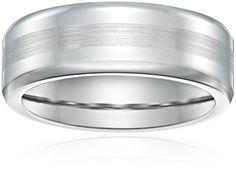 Men's 7.5mm Cobalt Comfort Fit Plain Wedding Band all High Polished with Satin Center #deals