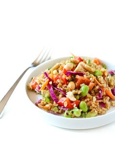 This Thai freekeh salad with peanut ginger dressing packs a punch of flavor and nutrition. It keeps great in the fridge - perfect for weekend food prep!