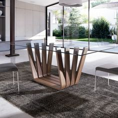A rectangular glass coffee table can be a great addition to any living or sitting room. Dinning Table Design, Marble Top Dining Table, Glass Dining Room Table, Steel Table, Modern Table, Contemporary Dining Table, Deco Design, Table Furniture, Furniture Design