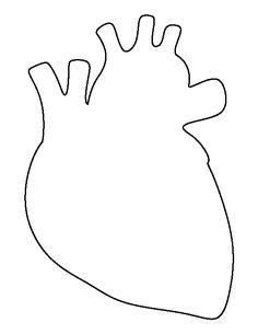 Human heart pattern. Use the printable outline for crafts, creating stencils, scrapbooking, and more. Free PDF template to download and print at http://patternuniverse.com/download/human-heart-pattern/