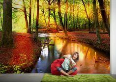 Fototapete / Vliestapete: Forest Stream, Nature. Motiv: 2,00x1,33 m. Dekor: Natur. Raum: Schlafzimmer, Wohnzimmer. Farbe: Braun, Bunt, Grün. Qualität: gut lichtbeständig, gut waschbeständig, restlos abziehbar.