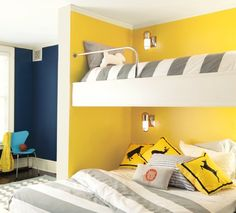 Look at the paint color combination I created with Benjamin Moore. Via Walls: Napa Vineyards Back Walls: Downpour Blue Trim: Cotton Balls Yellow Bedding, Yellow Pillows, Bedroom Yellow, Bedroom Wall, Kids Bedroom, Bedroom Decor, Bedroom Ideas, Benjamin Moore Yellow, Yellow Kids Rooms