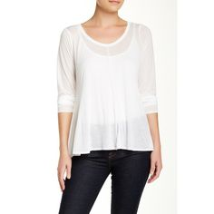 Eileen Fisher Scoop Neck Jersey Tee ($70) ❤ liked on Polyvore featuring tops, t-shirts, scoop neck tee, white scoop neck tee, long sleeve t shirts, sheer long sleeve t shirt and sheer long sleeve tee