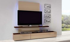 Chic and Modern TV Wall Mount Ideas for Living Room - Home theater with tall mounted TV Wall Mount Tv Shelf, Hanging Tv On Wall, Corner Tv Wall Mount, Wall Mounted Shelves, Shelf Wall, Wall Storage, Wall Tv, Room Shelves, Corner Shelves