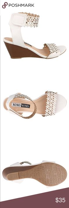 """XOXO NEW CUTE ❣ Sandal Man made upper w/decorative cut out details -ankle strap w/ adjustable Velcro hook and loop . Rubber Sole- shoe dimensions->.10.9x8.9x4"""" XOXO Shoes"""