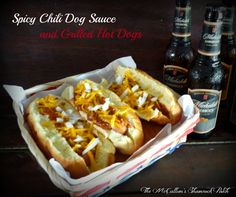 Crock Pot #Spicy #Chili Dog #Sauce and Grilled Hot Dogs