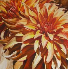 size: Stretched Canvas Print: Sun Dahlia by Sarah Caswell : Using advanced technology, we print the image directly onto canvas, stretch it onto support bars, and finish it with hand-painted edges and a protective coating. Macro Flower, Flower Art, Moma Art, Big Flowers, Painting Edges, Large Painting, Stretched Canvas Prints, Framed Artwork, Wall Art