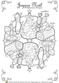 Coloriage / dessin Mandala de Noël classique avec les papillotes, la bûche