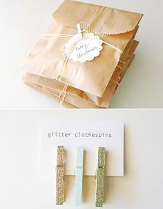 Package of Tiny Glitter Clothespins
