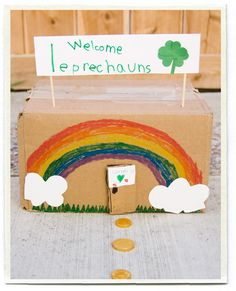 leprechaun trap. My parents and grandpa did this with us to catch the lucky folk. We never caught them but they usually left us some candy in the trap. I cannot wait to try it with Bailey.