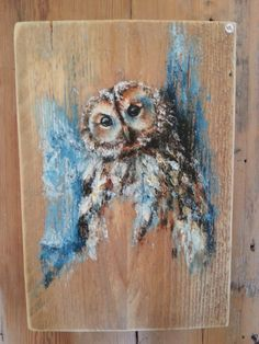 New painting wood on canvas ideas Painting Wood Paneling, Pallet Painting, Wood Painting Art, Pallet Art, Wood Paintings, Owl Art, Bird Art, Barn Wood Crafts, Acrylic Painting Techniques