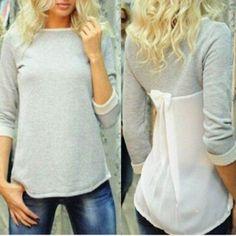 Sweet 3/4 Sleeve Back Bowknot Chiffon Spliced Pullover Sweatshirt For Women