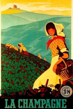 Champagne La Champagne Vineyard Girl Grape Harvest France Vintage Poster Repro