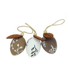 """2.25"""" Brown & White Decorative Painted Design Easter Egg Ornaments Set Of 3"""