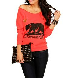 Off Shoulder Red 'California Republic' Sweatshirt Pretty Outfits, Cute Outfits, Pretty Clothes, Cozy Winter Outfits, California Republic, Sweater Jacket, Cute Shirts, Me Too Shoes, My Style