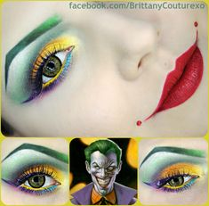 Impressive and creative fantasy make-up look with jewel accented signature red lips inspired by 'The Joker' of Batman fame.
