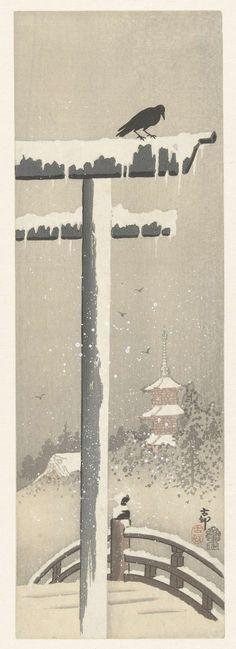 Torii in de sneeuw, Ohara Koson, 1900 - 1910