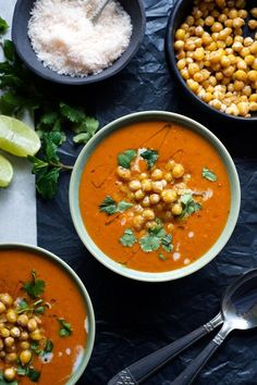 Curried Tomato and Coconut Soup with Garlic Chickpeas | On the table in 30 min, this healthy vegan soup uses ingredients you're likely to already have in your pantry!