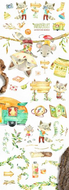 Watercolor Bundle of cute Animals included Characters, Objects, Arrangements, Food, Floral Elements and other Graphics. This set is just what you needed for the perfect invitations, craft & DIY projects, paper products, party decorations, printable, greetings cards, posters, stationery, scrapbooking, stickers, t-shirts, baby clothes, web designs and much more.