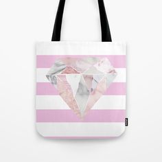 Light Pink Stripes & Marble Diamond Tote Bag by The Happy Arkansan. Worldwide shipping available at Society6.com. Just one of millions of high quality products available.