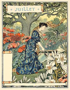 Time for La Belle Jardiniere! Juillet Eugene Grasset also from Bob Young Vintage Prints, Vintage Art, Eugene Grasset, Design Art Nouveau, Davidson Galleries, Jugendstil Design, Vintage Calendar, Wood Engraving, Art And Illustration