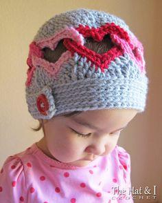 CROCHET PATTERN  Be Mine  crochet heart hat pattern linked