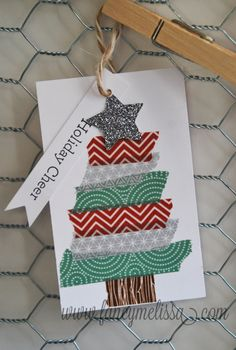 Darling Washi Tape Christmas Tree Tag www.fancymelissa.com #ctmh #sparkleandshine #homemade #craft #diy