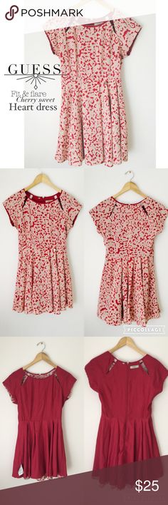 GUESS fit and flare cherry sweet heart dress💕 Very cute fit and flare dress with fun cut outs. Guess Dresses Mini