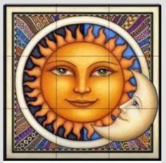 Celestial tiles - Sun and Moon tiles - Celestial Dreamy Sun - Tile Mural Sun Moon Stars, Sun And Stars, Pictures Of The Sun, Sun Pics, Moon Painting, Tile Projects, Sun Art, Tile Murals, Moon Design