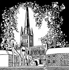 The Norwich Print Fair - contemporary fine art printmaking in the East Anglian region. Norwich Cathedral, Salisbury Cathedral, Linocut Prints, Printmaking, Fine Art, Print Ideas, Baron, Cathedrals, Cityscapes