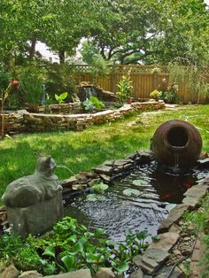 Two Ponds With Fountains Waterfall Features In On Small Backyard Like A Slice Of Paradise Hidden Away Especially The Quirky Cat Fountain