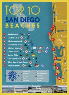 The city of San Diego, California is known for its warm and sunny climate. Its coastal location means that it has many miles of beach land. Not surprisingly, the citizens of San Diego are know for spending a great deal of time swimming, sunbathing, and so San Diego Area, San Diego Beach, Mission Beach San Diego, Pacific Beach San Diego, San Diego Map, San Diego Vacation, San Diego Travel, California Vacation, California Love