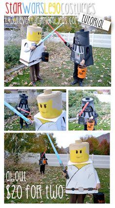 DIY Lego Star Wars Costume Lego Luke Skywalker and Lego Darth Vader put together)! Lego Halloween, Holidays Halloween, Halloween Crafts, Halloween Costumes, Halloween 2017, Costume Star Wars, Costume Garçon, Boy Costumes, Diy Lego Costume