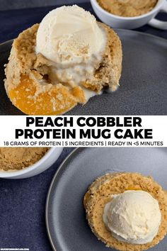A high protein, low calorie spin on peach cobbler that can be made with a handful of ingredients, a microwave, and about five minutes. Vegan Pizza Recipe, Pizza Recipes, Cake Recipes, Dessert Recipes, Breakfast Recipes, Recipes Dinner, Potato Recipes, Casserole Recipes, Soup Recipes