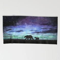 """Aurora borealis and polar bears (black version)"" Beach Towel, Bath Towel & Hand Towel by @savousepate on @society6 #polarbears #auroraborealis #watercolor #painting"